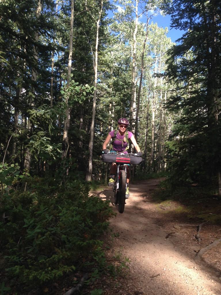 Hilary riding on the Colorado Trail near Breckenridge.